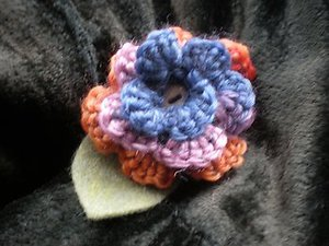 Multicolour crochet flower